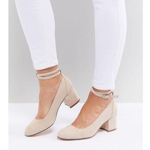 wide fit mid block heeled shoes - beige marki London rebel