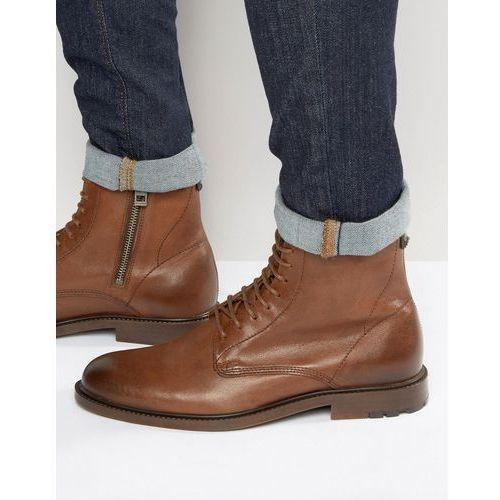 by hugo boss cultroot halb lace up boots - tan marki Boss orange