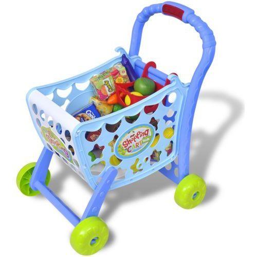 Vidaxl  zabawkowy wózek na zakupy 3 w 1, niebieski