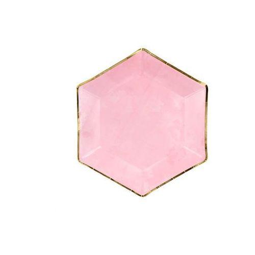 Talerzyki różowe ze złotą obwódką - 23 cm - 6 szt. marki Party deco