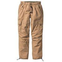 Bonprix Spodnie bojówki loose fit straight wielbłądzia wełna
