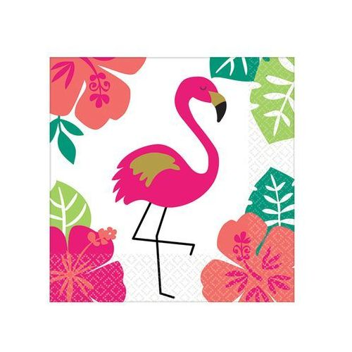 Amscan Serwetki hawajskie aloha z flamingiem - 25 cm - 16 szt.