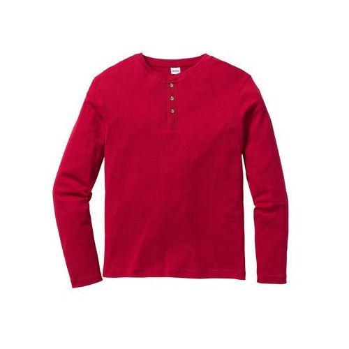 Shirt z długim rękawem w prążek, regular fit  ciemnoczerwony marki Bonprix