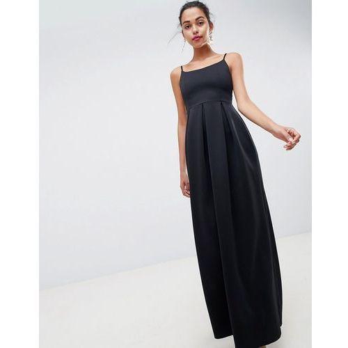 scuba scoop neck maxi prom dress - black marki Asos design