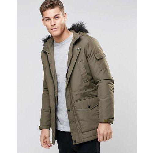 ASOS Parka Jacket With Faux Fur Trim In Khaki - Green - produkt z kategorii- Pozostałe