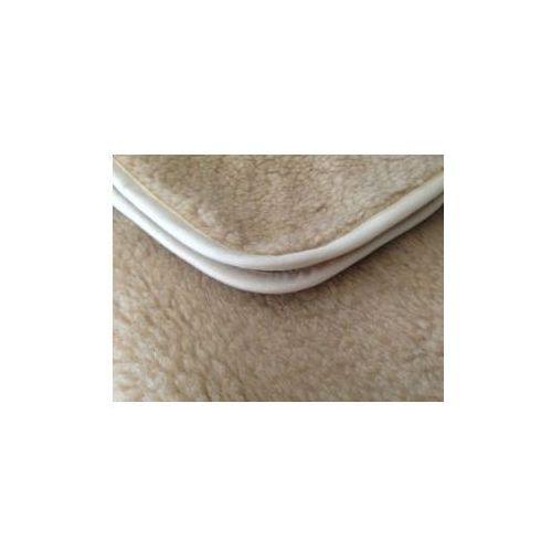 Baranek 200x200cm beżowy koc wełniany, kolor beżowy