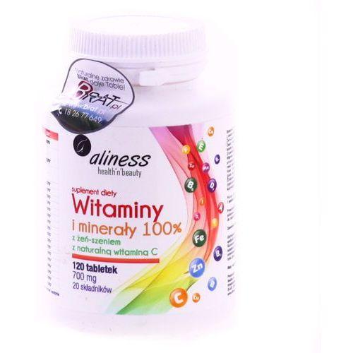 Tabletki Witaminy i minerały 100% - z żeń-szeniem - 120 tabletek - Aliness