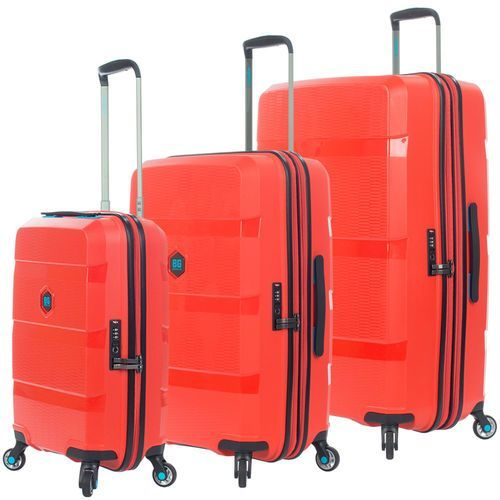 Bg berlin zip2 zestaw walizek / komplet / walizki na 4 kółkach / latin red - latin red