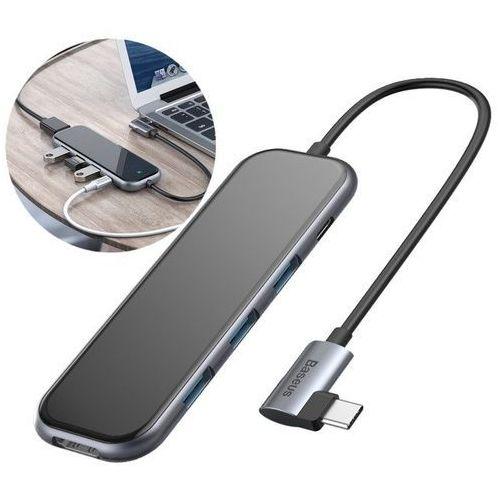Baseus adapter przejściówka HUB USB Typ C na 3x USB 3.0 / HDMI 4K / USB Typ C PD do MacBook / PC szary (CAHUB-BZ0G), 50833 (12118386)