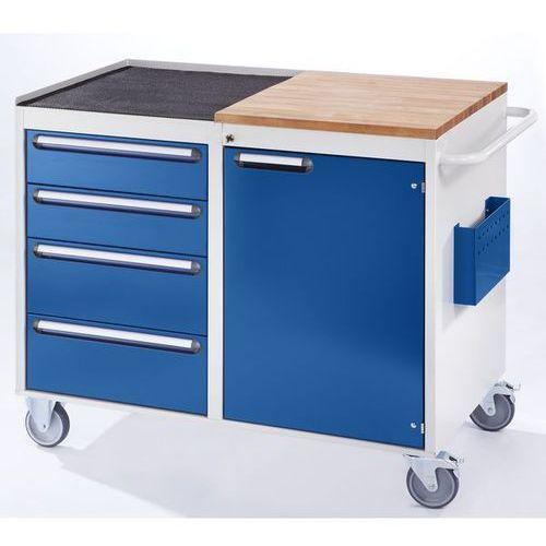 Stół warsztatowy, ruchomy,4 szuflady, 1 drzwi, blat roboczy z drewna / metalu marki Rau