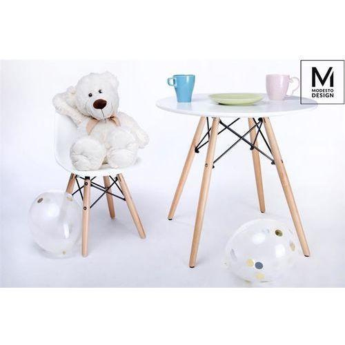 MODESTO krzesło JUNIOR DSW białe - polipropylen, podstawa bukowa, kolor biały