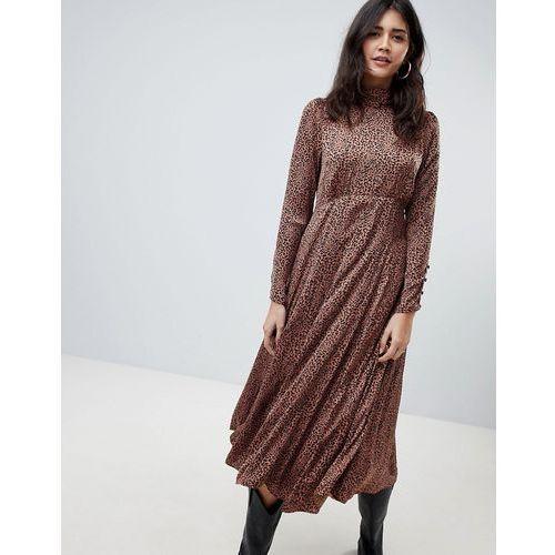 Free People Loveless midi dress in animal print - Brown, kolor brązowy