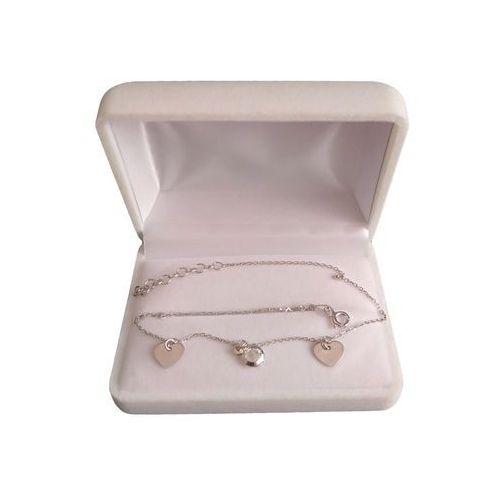 Bransoletka srebrna z cyrkonią i dwoma sercami celebrytka SBC18, kolor szary