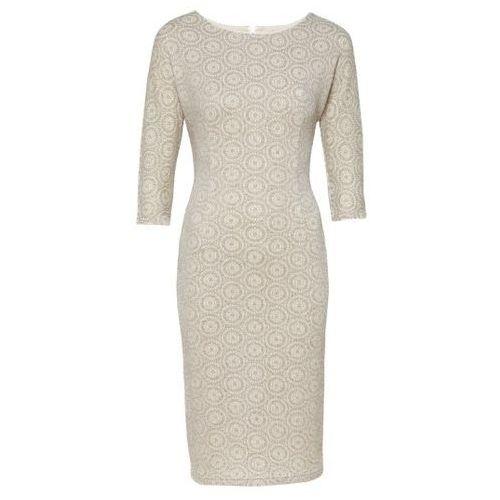 Sukienka w beżowe koła 5045 (Rozmiar: 48, Kolor: kremowy), VV/O/5045