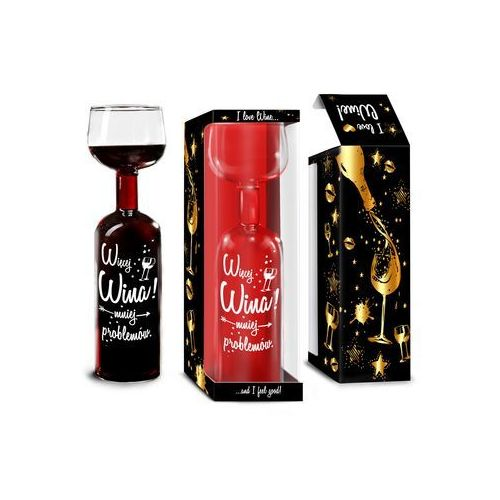 Butelko kieliszek - Więcej wina - mniej problemów, butkiel05