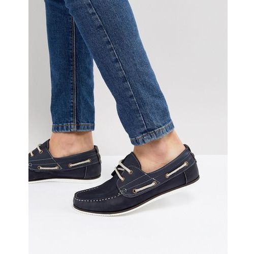 leather boat shoe in navy - navy, River island
