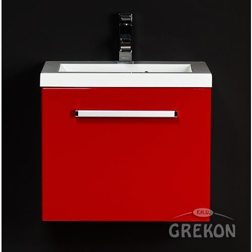 Czerwona szafka wisząca z umywalką 50/39 seria Fokus CZ