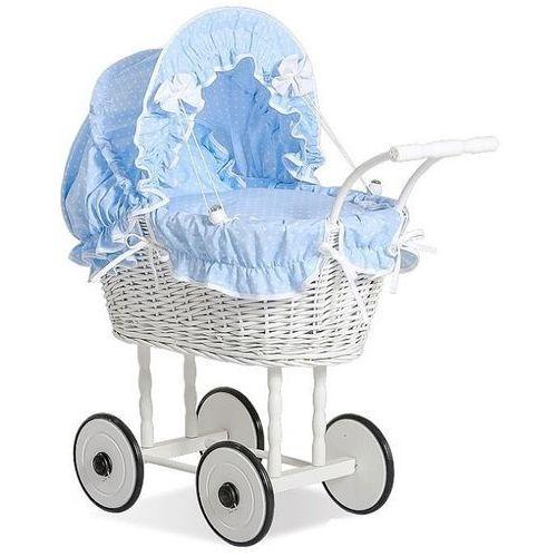 Wiklinowy wózek dla lalek, biel i błękit, pościel w kropeczki, zabawki dla dziewczynek (71699588)