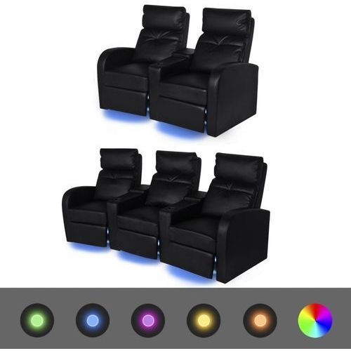 Vidaxl  fotele kinowe 2 + 3 osobowe, czarna, sztuczna skóra z podświetleniem led (8718476017379)