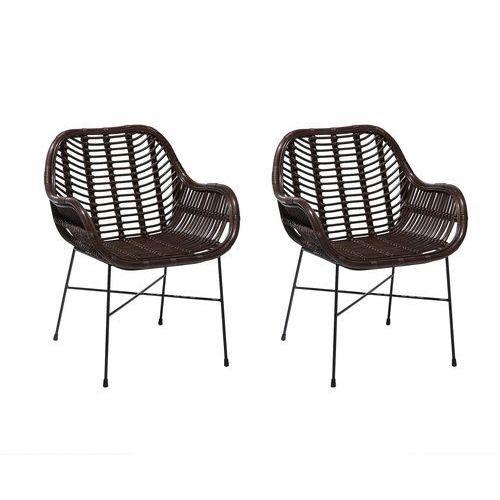 Zestaw 2 krzeseł rattanowych brązowe CANORA, kolor brązowy