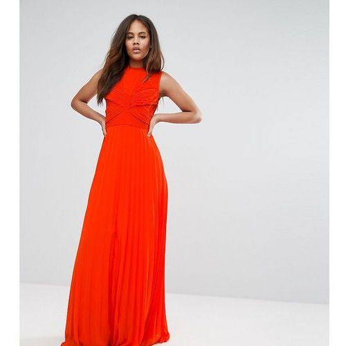 lace top pleated maxi dress - red marki Asos tall