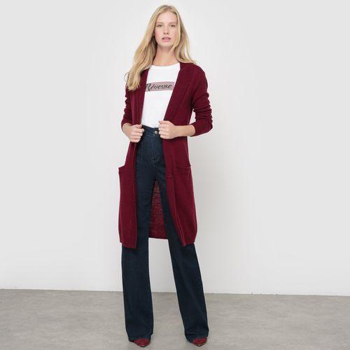 Długi sweter z nakrapianej dzianiny 52% wełny