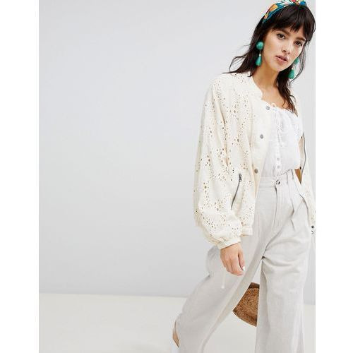 Free People Daisy Jane Bomber Jacket - White, w 4 rozmiarach