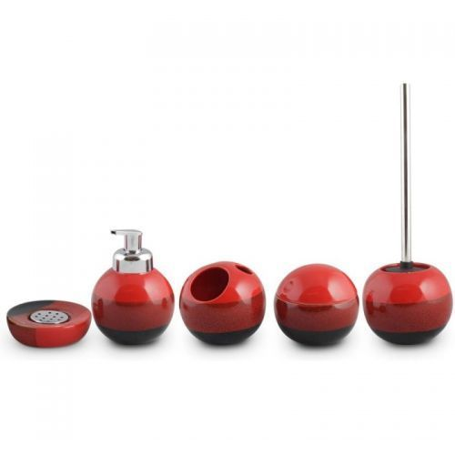 AWD INTERIOR Komplet łazienkowy REDS - dozownik z funkcją piany, kubek, pojemnik kosmetyczny, mydelniczka, szczotka toaletowa