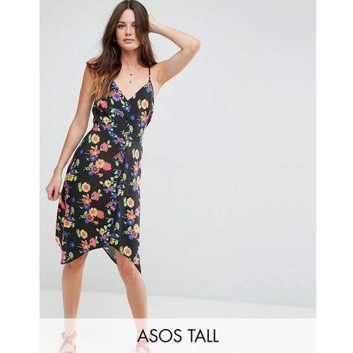 Asos tall  floral print button through sun dress with dipped hem - multi