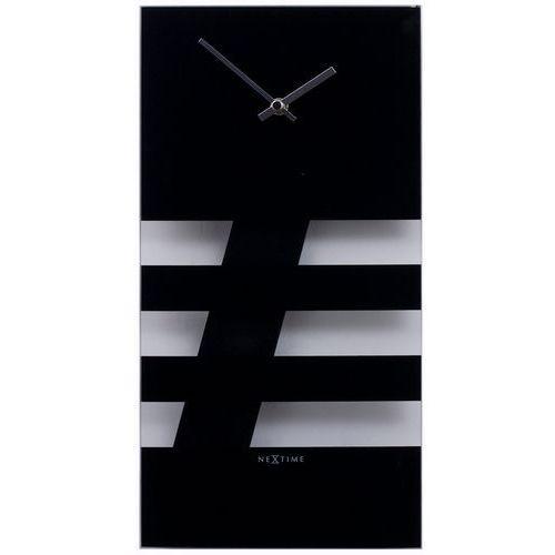 Zegar Nextime Bold Stripes 19x38 cm black, kolor czarny