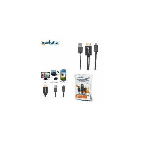 Kabel adapter Manhattan MHL Micro B USB 5 pin na HDMI 1,5m, czarny