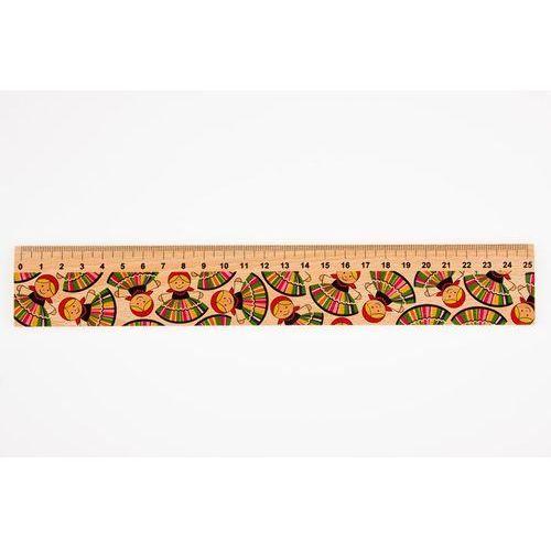 Linijka drewniana 25 cm łowiczanki FOLKSTAR (5901845111294)