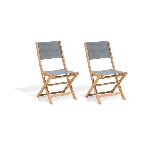 Zestaw 2 krzeseł ogrodowych drewniane szare cesana marki Beliani