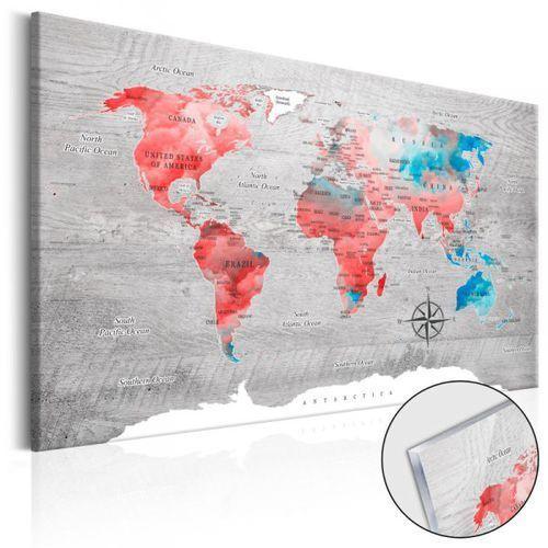 Obraz na szkle akrylowym - Mapa świata: Czerwona wędrówka [Glass]