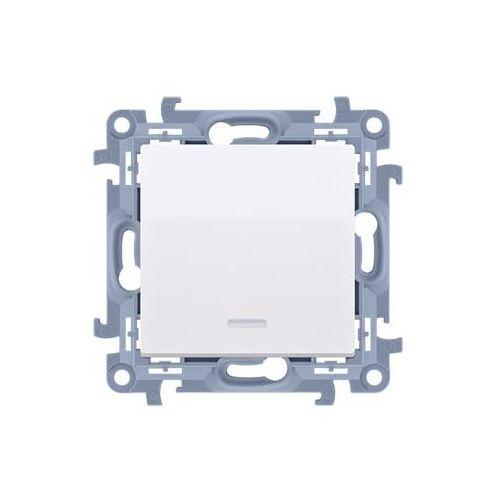 Kontakt simon Simon 10 przycisk cp1l.01/11 pojedynczy zwierny bez piktogramu z podświetleniem led 10ax biały
