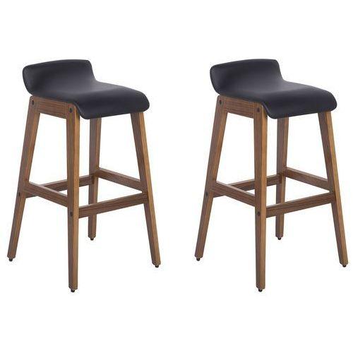 Beliani Zestaw 2 krzeseł barowych skóra ekologiczna czarny cody