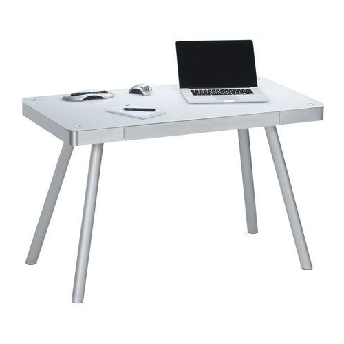 Biurko, stół do pracowni ALU METAL białe, połysk 50009446