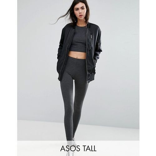 high waisted leggings in charcoal marl - grey marki Asos tall