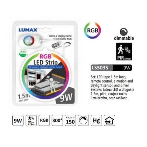 LS503S - ZESTAW RGB: TASMA LED 9W 1,5M, CZUJNIK, ZASILACZ PILOT DIM, LS503S