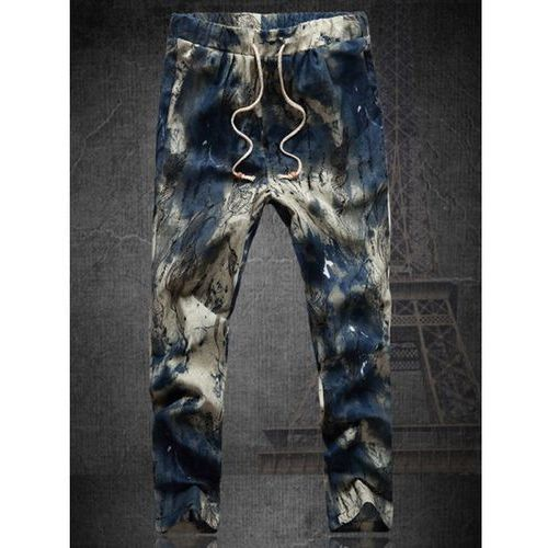 Plus Size Multicolor Lace-Up Straight Leg Tie-dyed Nine MInutes of Pants For Men