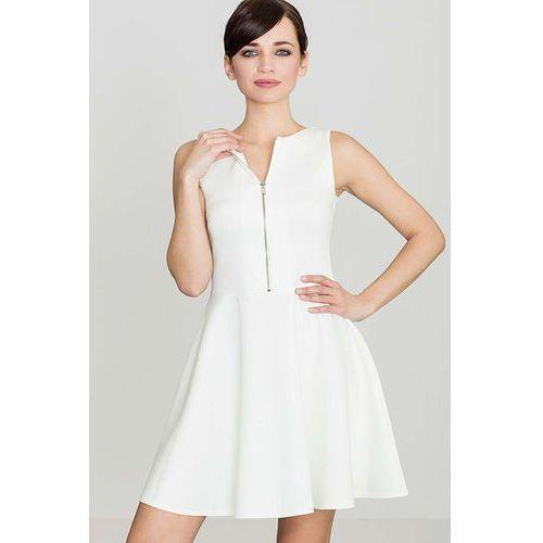 Katrus Ecru rozkloszowana sukienka z ozdobnym suwakiem