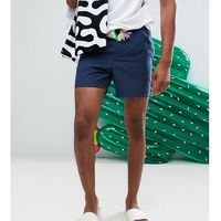 Asos tall swim shorts in navy with multicoloured drawcord in short length - navy