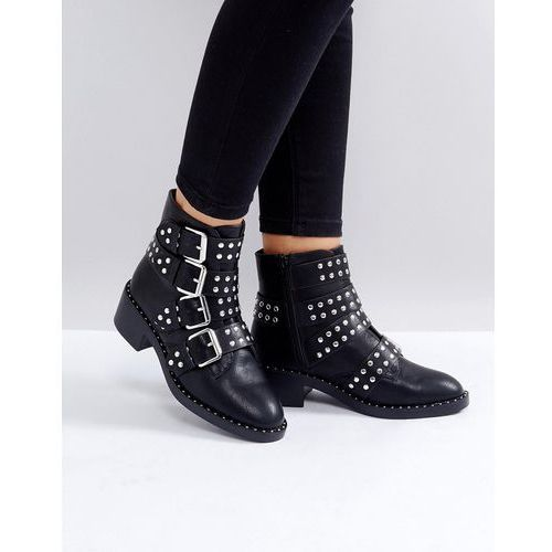 Glamorous Black Studded Buckle Flat Ankle Boots - Black, ankle