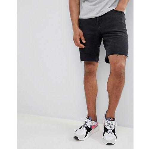 slim fit denim shorts in washed black - black, Bershka