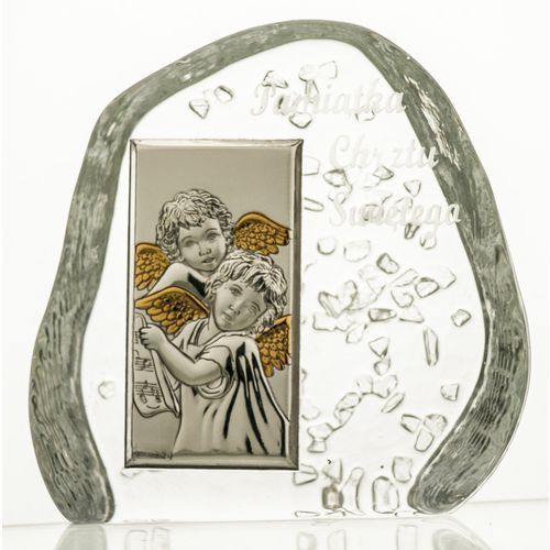 Przycisk skałka na Chrzest z aniołkami grawer 3790
