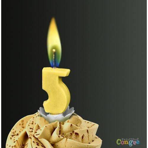 """Świeczka cyferka piątka """"5"""" z żółtym płomieniem - 1 szt. marki Sens"""