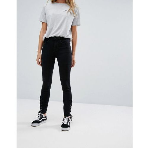 New Look Lace Up Side High Waist Jegging - Black