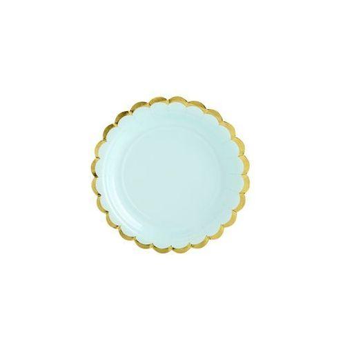 Talerzyki miętowe ze złotymi brzegami - 18 cm - 6 szt.