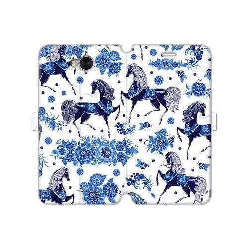 Huawei Y5 (2017) - etui na telefon Wallet Book Fantastic - folkowe niebieskie konie, kolor niebieski