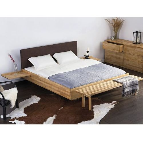 Podwójne łóżko drewniane ze stelażem 180x200 cm, brązowe ARRAS (7081457433484)